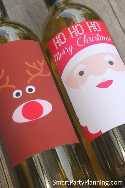 Cute Printable Santa & Rudolf Wine Labels