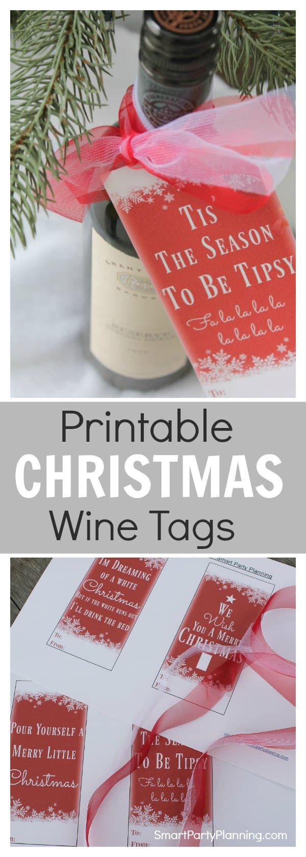 Easy DIY Christmas wine tags. There are four designs to choose from, which easily attach to the neck of a wine bottle using your favorite Christmas ribbon. It's the perfect easy craft project for a quick Christmas or host gift. Download the instant printable to use right away. This is gift giving made easy. Just print, cut and attach. It's super simple.