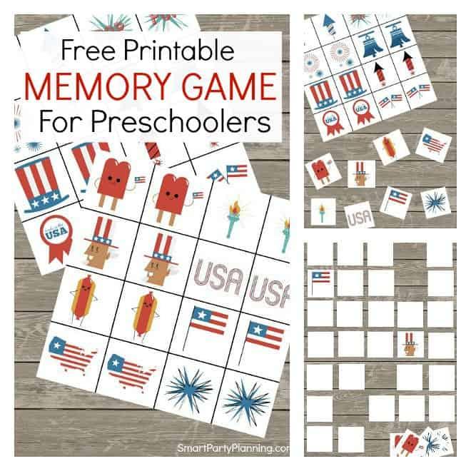 Printable memory game for preschoolers