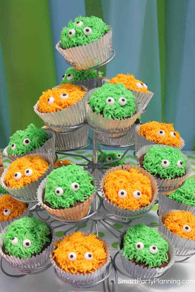 Cupcake stand of monster cupcakes