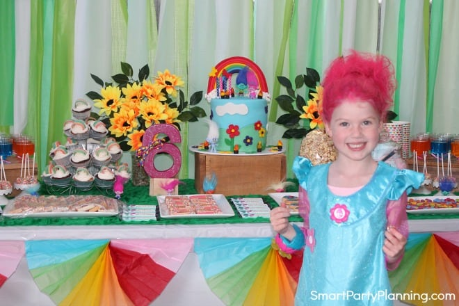 Girl at her Trolls birthday party