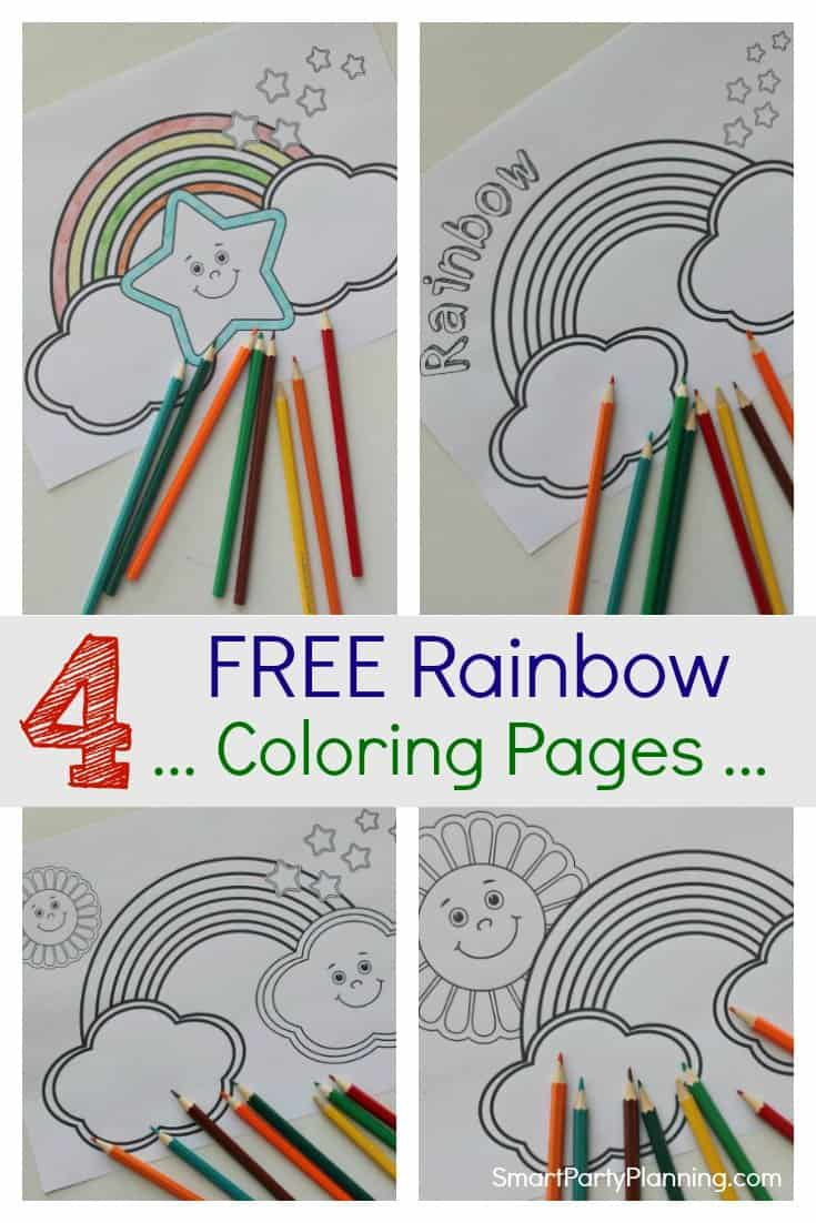 4 free rainbow coloring pages