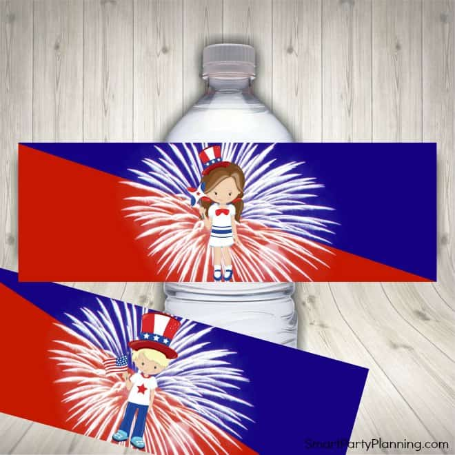 Water bottle labels for 4th of July party