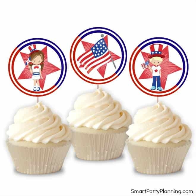cupcake toppers for 4th of July decoration