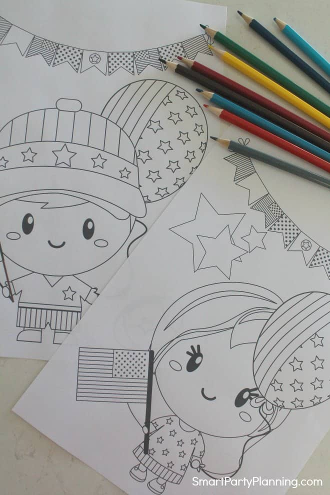 Little boy and girl 4th of July coloring pages