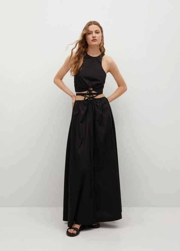 Bow crop top and cotton flared skirt in black from Mango