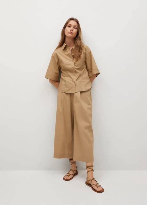 Cotton culotte trousers - General plane