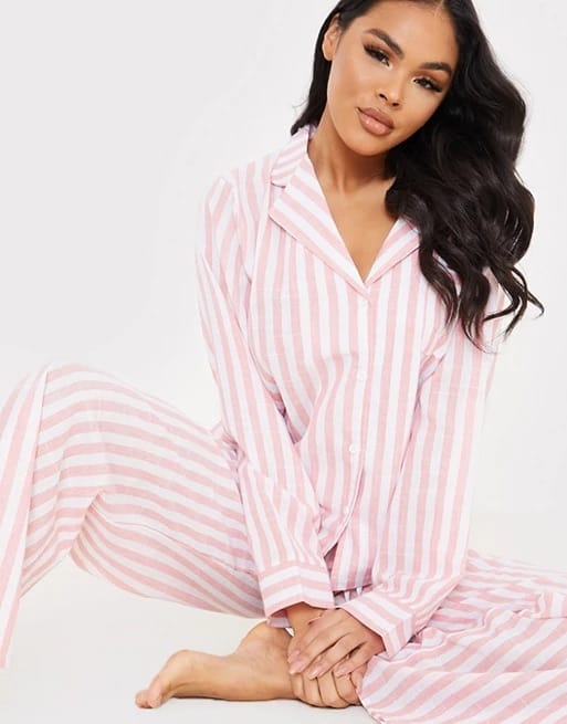 In The Style x Lorna Luxe pin stripe pyjama shirt and trouser set in pink