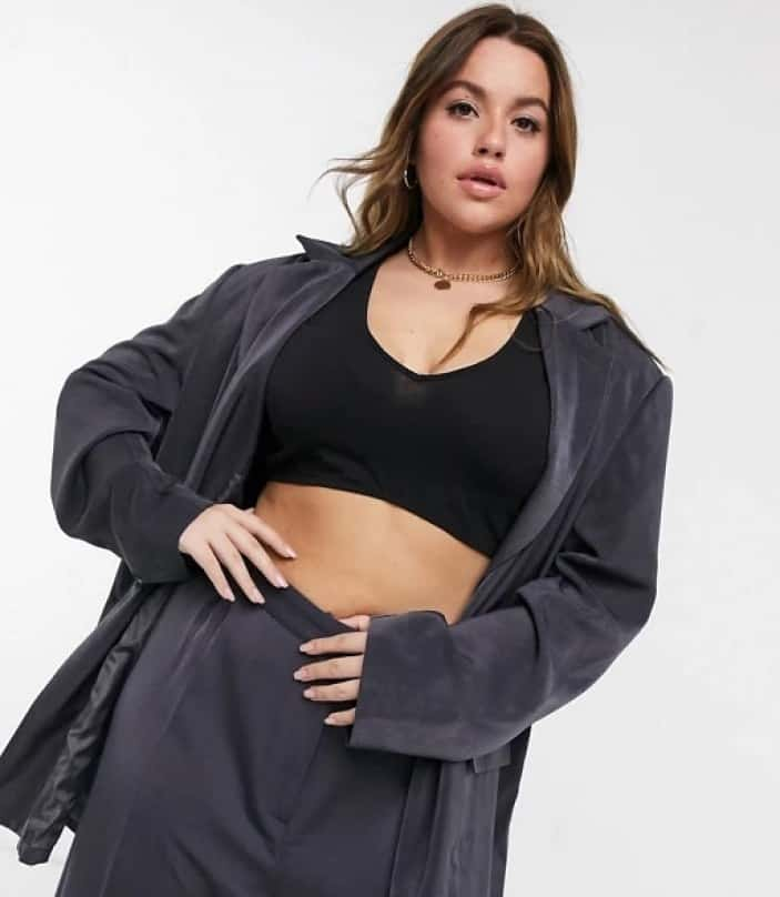 COLLUSION Plus double breasted blazer & balloon leg trousers in charcoal
