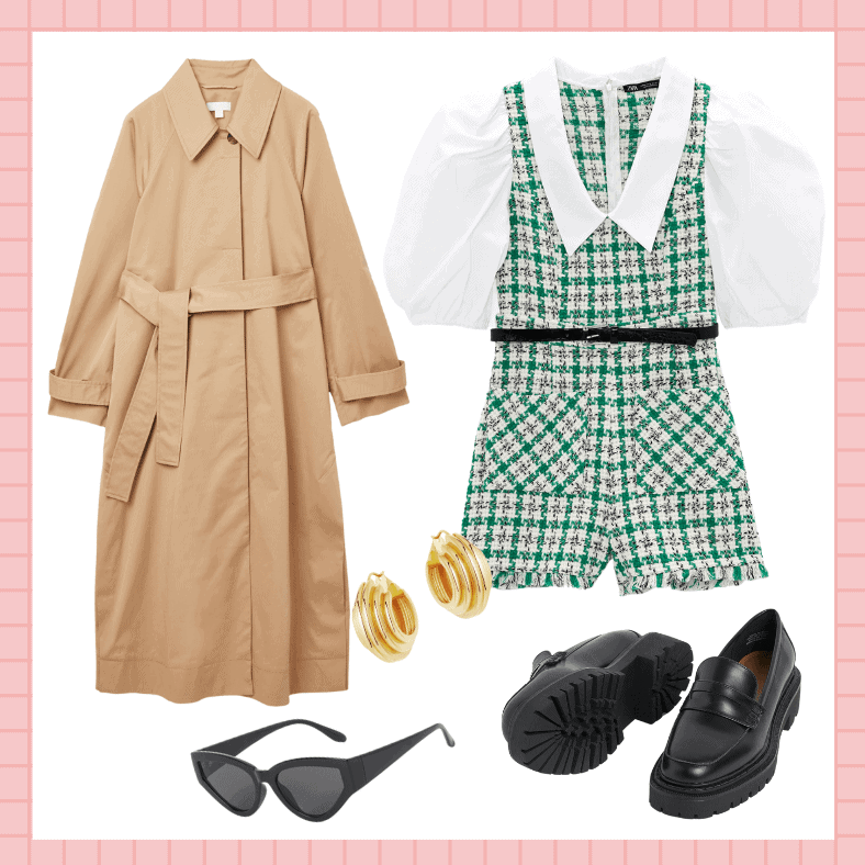 Medium Ridge Hoop Earrings, £125, Lucy Williams x Missoma; Oversized Trench Coat, £150, Cos; Chunky-soled Loafers, £24.99, H&M; Boucle playsuit, Zara;Cateye sunglasses Hm