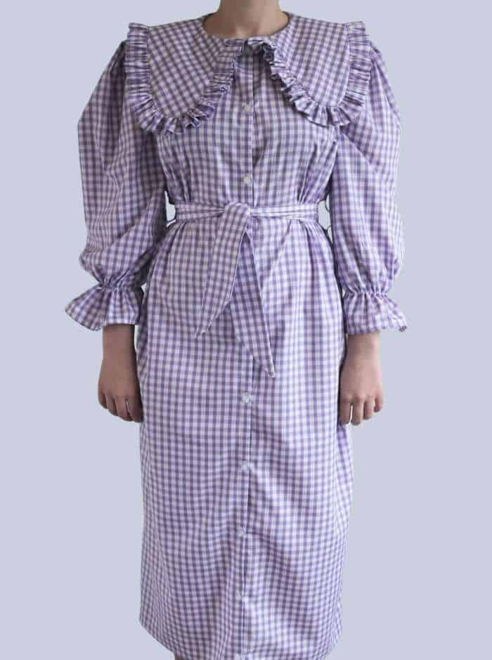Puff Sleeve Statement Collar Dress With Belt