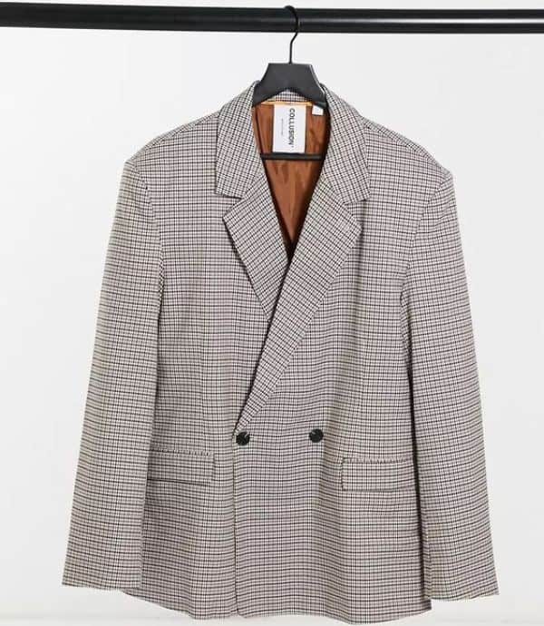 Unisex Oversized Double-Breasted Dad Blazer in Heritage Check, £50, ASOS COLLUSION