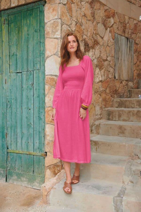 Next Pink Linen Look Shirred Midi Dress