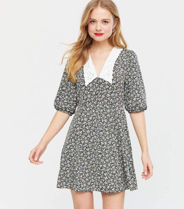 Black Ditsy Floral Broderie Collar Mini Dress new look