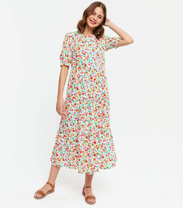 White Floral Puff Sleeve Tiered Midi Dress new look