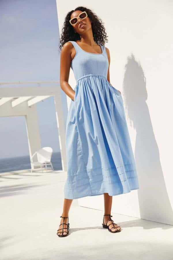 next summer dresses - blue square neck dress