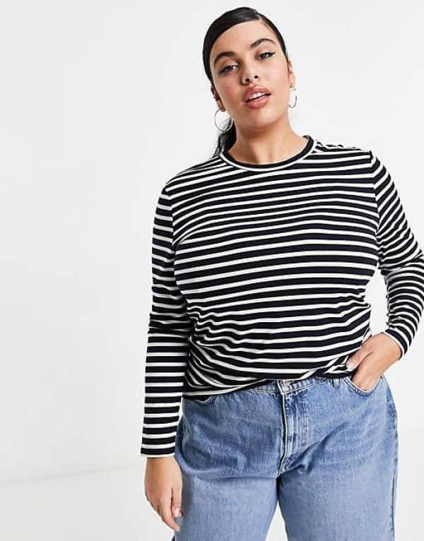 Curve Long Sleeve Striped T-Shirt ASOS