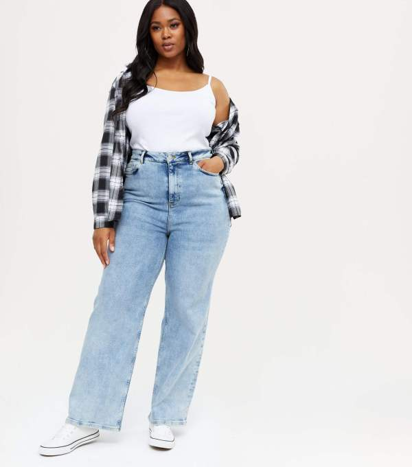 Curves Bright Blue 90s Baggy Fit Jeans New Look
