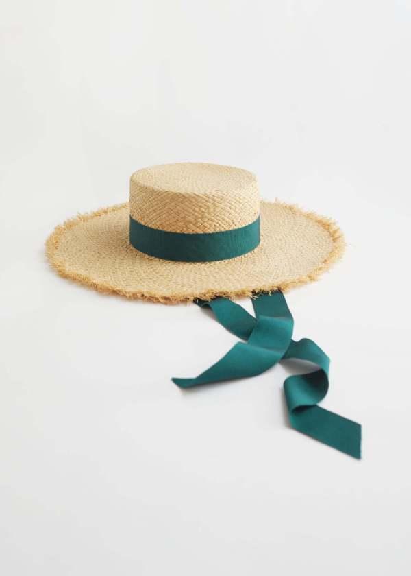 straw hats - & other stories Ribbon Brim Straw Boat Hat