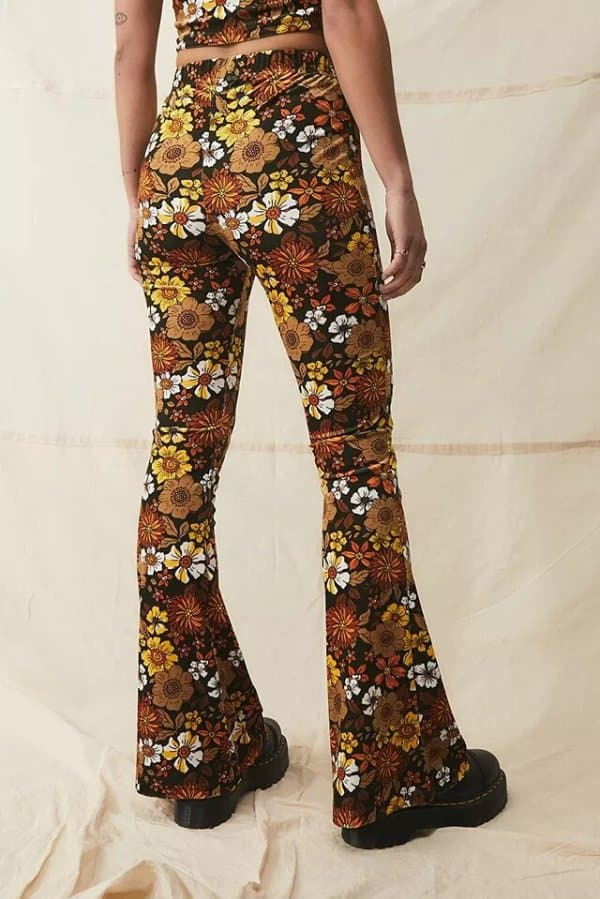 Urban Outfitters 70s Floral Velvet Flare Trousers