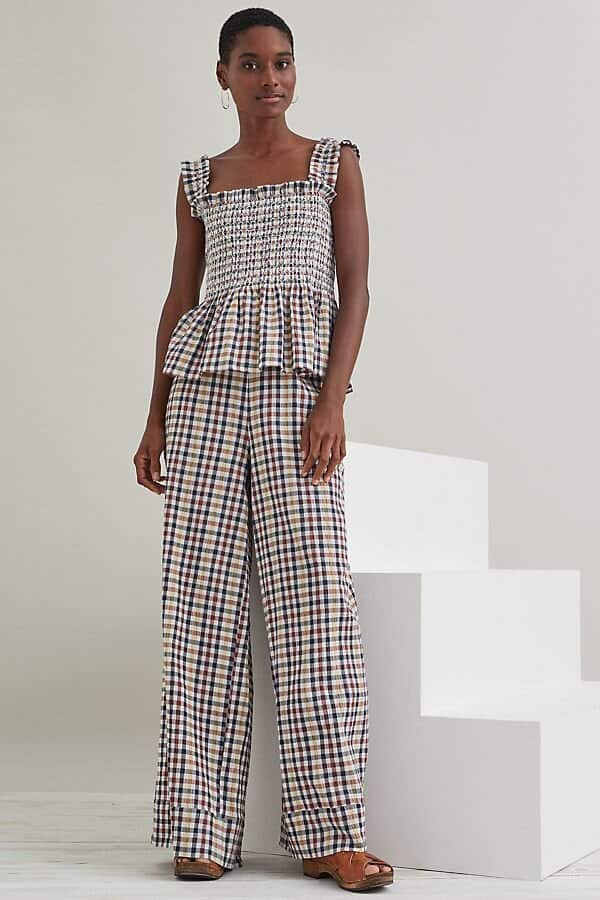 Anthropologie Lolly's Laundry Gingham Wide-Leg Trousers