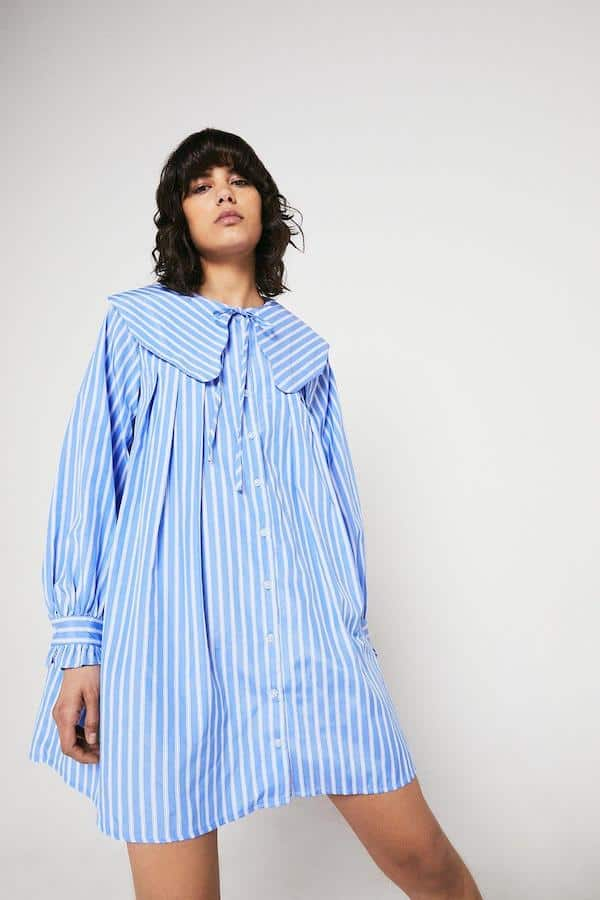 Warehouse Swing Dress in Stripe with Collar