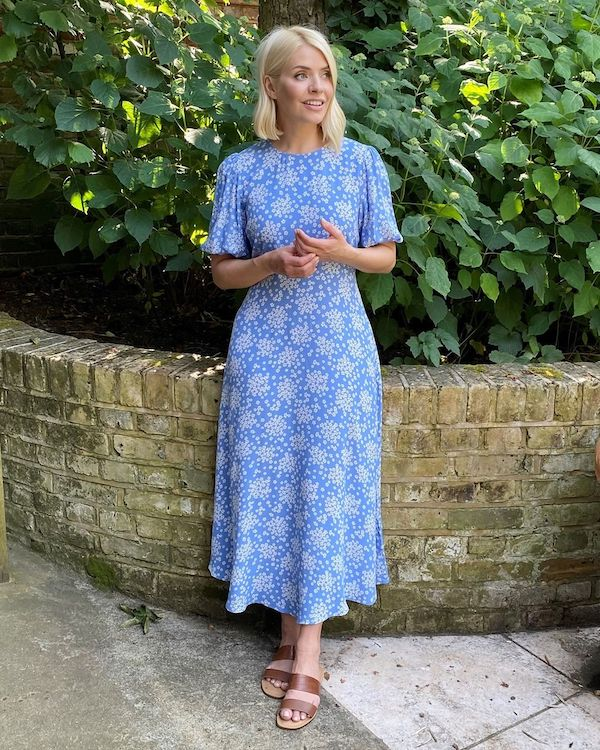 Holly Willoughby wearing blue floral M&S summer dress