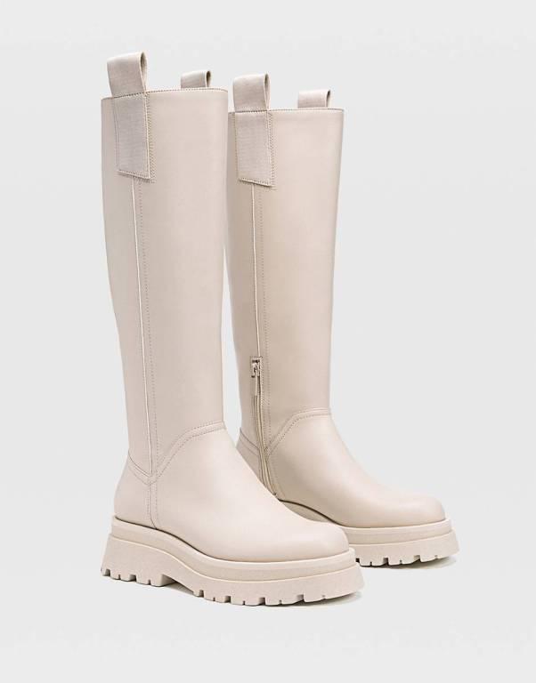 Stradivarius chunky sole high leg boots in beige