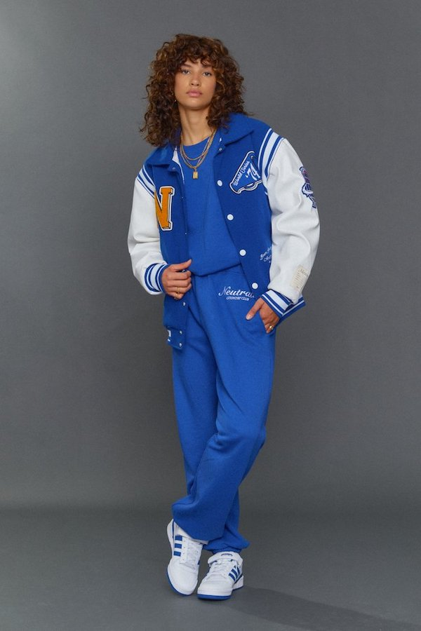 Jaded London Neutrals Blue Varsity Jacket