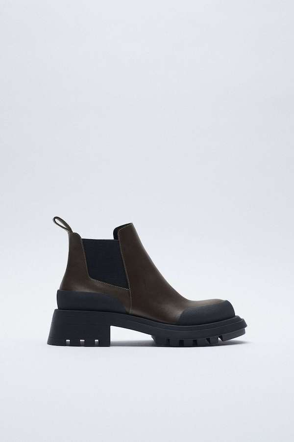 Zara Flat Leather Ankle Boots with Track Soles
