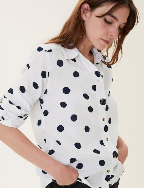 M&S Pure Linen Polka Dot Long Sleeve Shirt