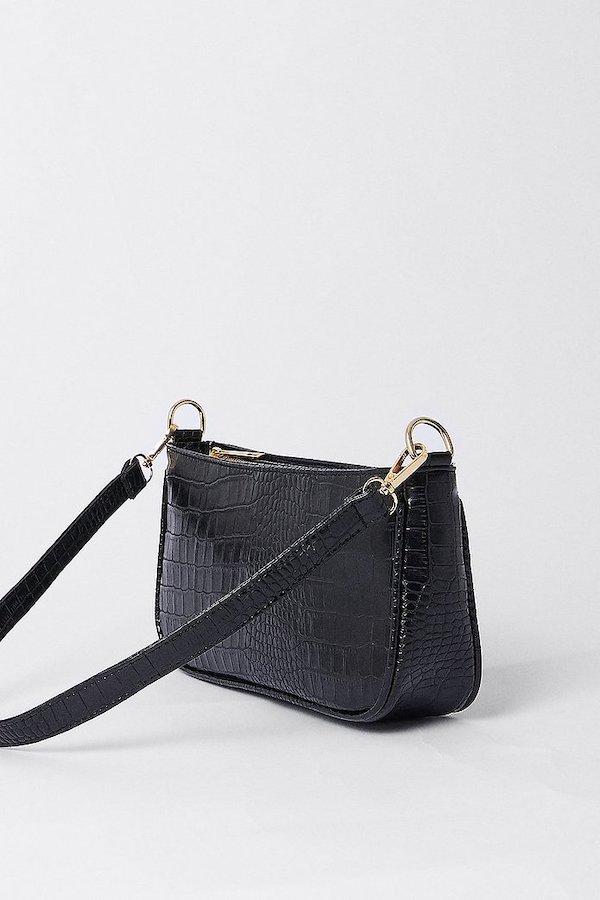 Warehouse Croc Detail Shoulder Bag