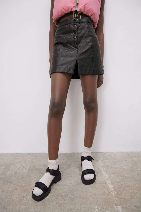 Zara Faux Leather Quilted Mini Skirt