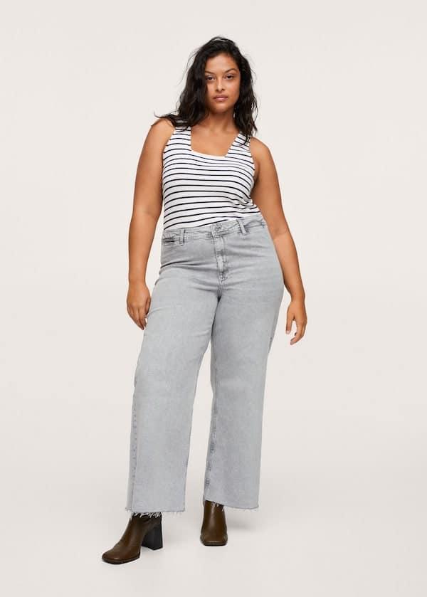 Mango Jeans Culotte High Waist in Denim Grey
