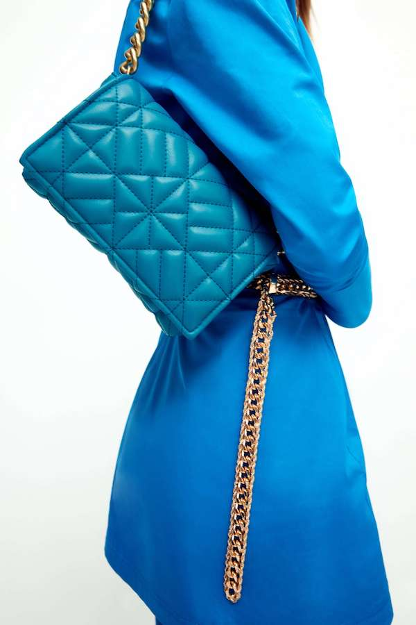 Zara Quilted Shoulder Bag With Chain