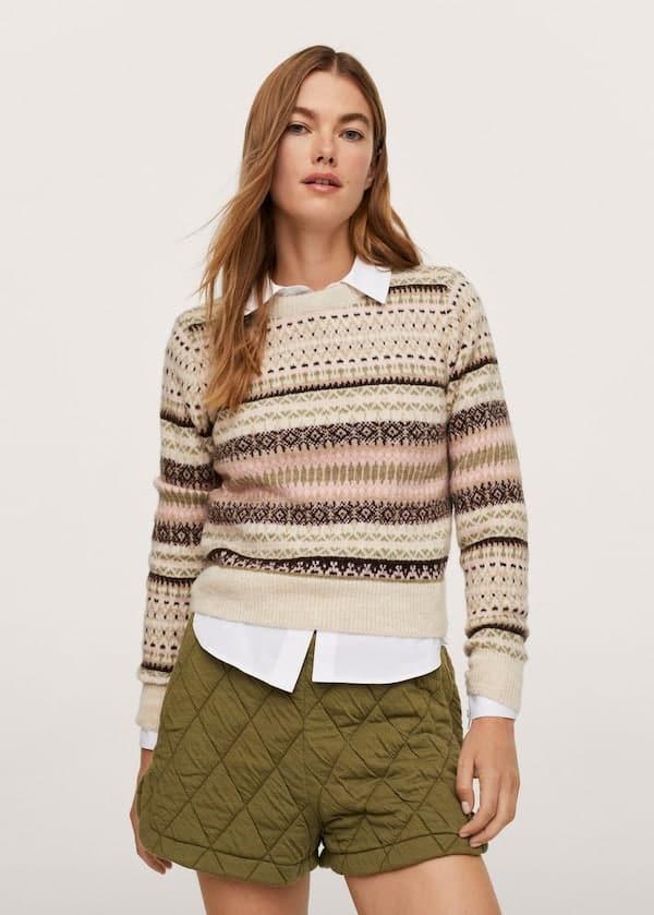 Print Knit Cotton Sweater Mango