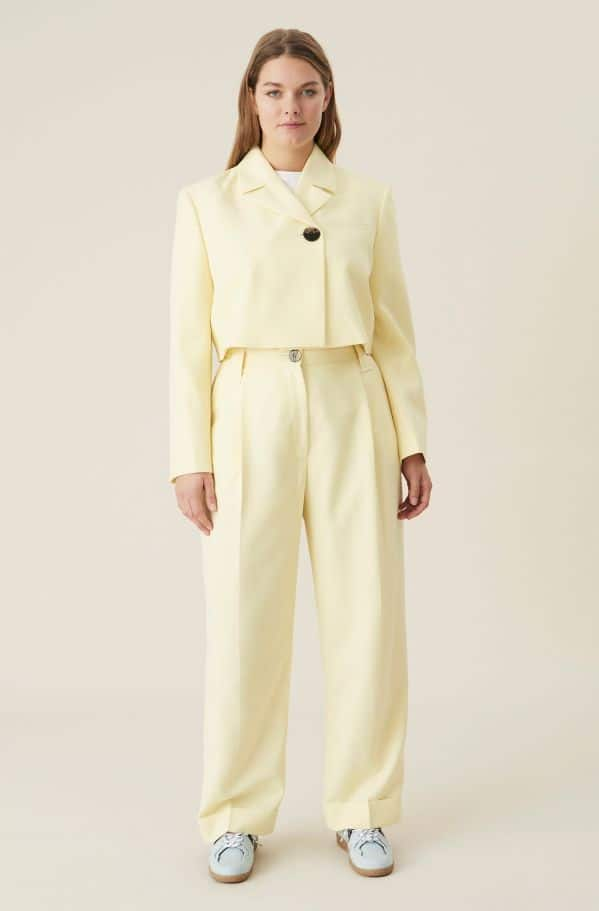 Summer Suiting Blazer and trousers suit, Polyester, in colour Pale Banana suit - 2 - GANNI