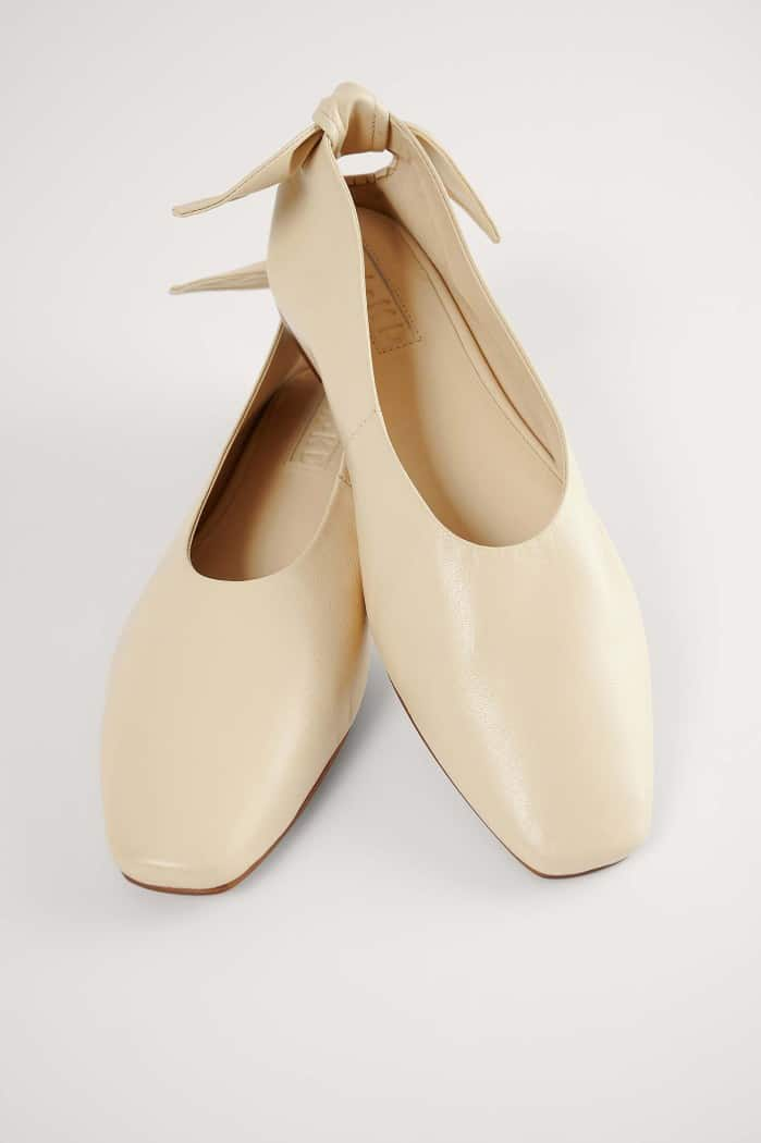 Beige Leather Bow Ballerinas NA-KD
