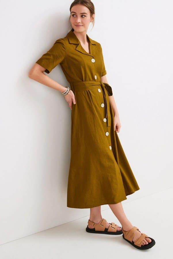 Linen Mix Shirt Dress Next