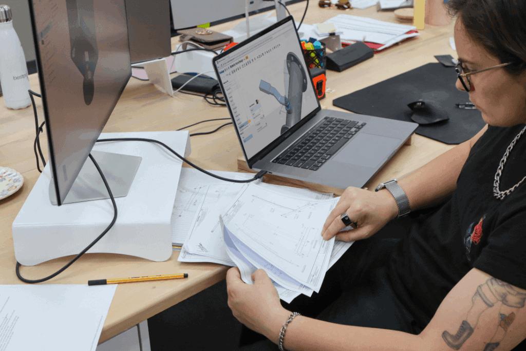 female designer working on computer 3D modelling