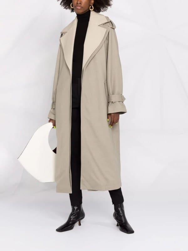 12 STOREEZ two-tone layered trench coat