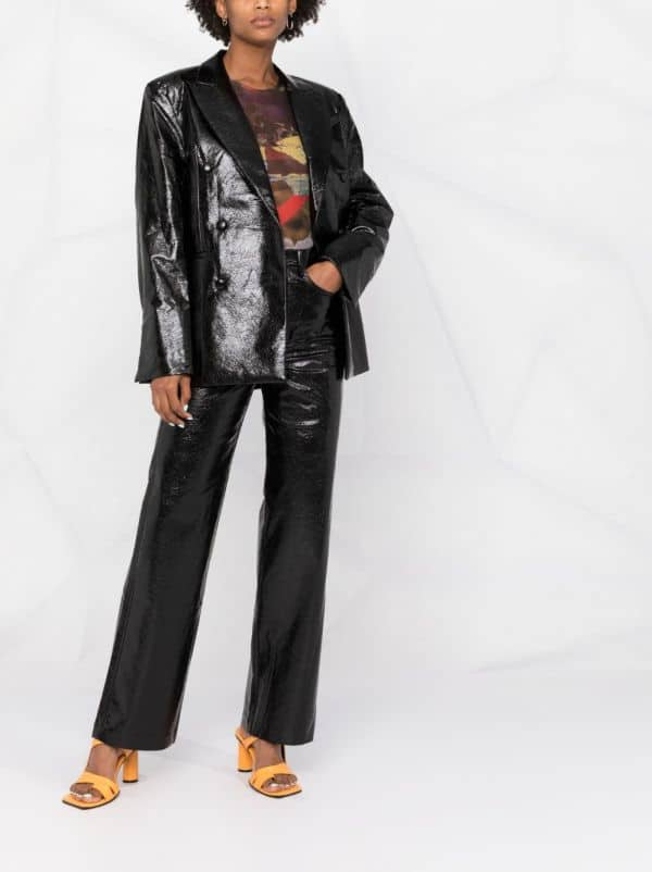 ROTATE snakeskin-effect double-breasted coat