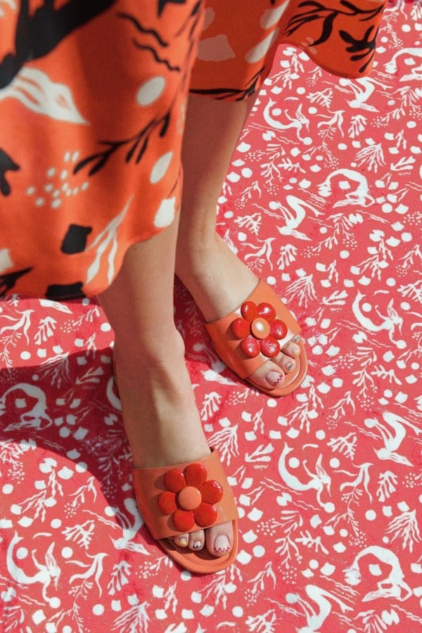 PALMA - CORAL Leather Sandal With Flower from Rixo