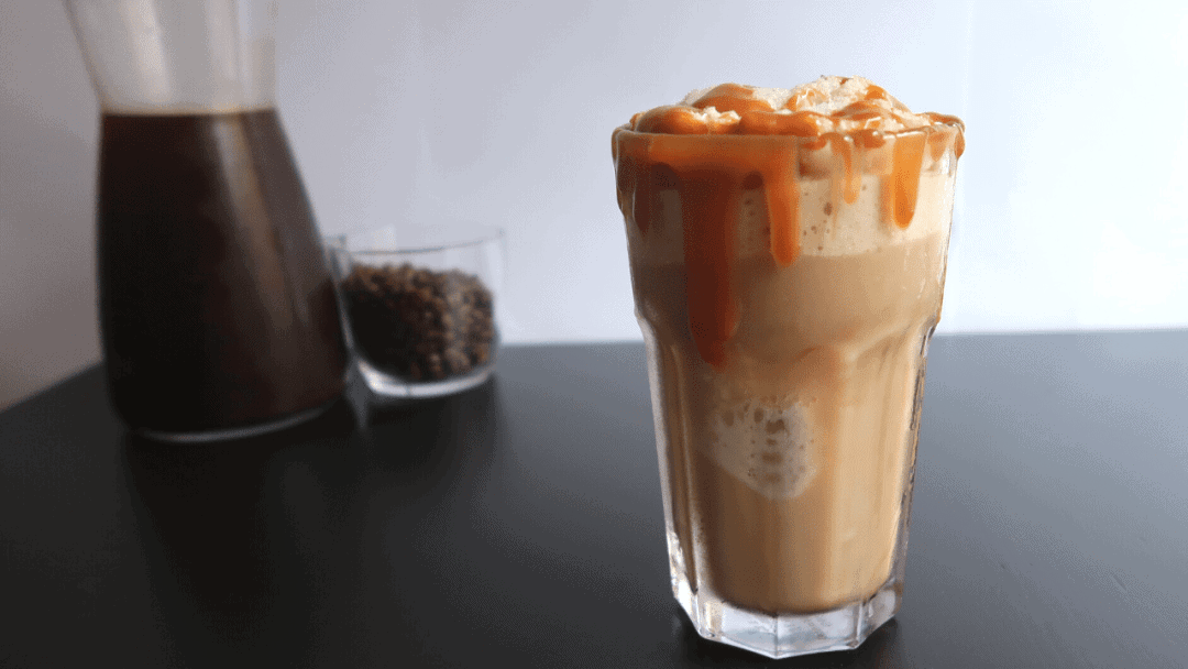 caramel topped almond coffee frappuccino