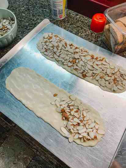 adding almonds to almond bars