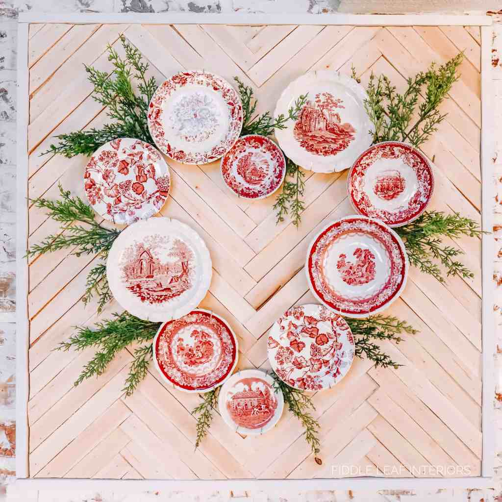 red transferware plate wreath with greenery