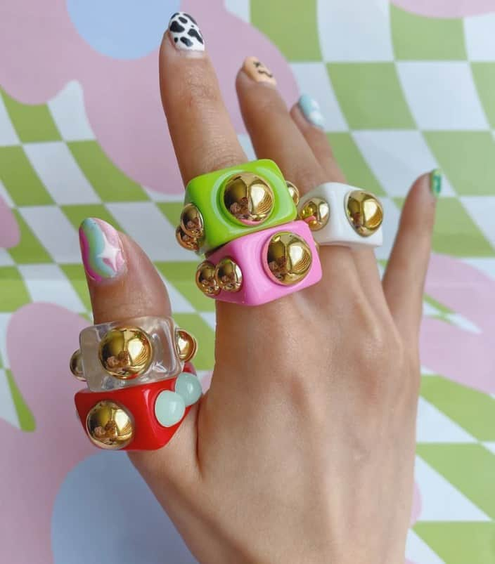 Chunky Resin Ring w/ Studs size 7.5/ Resin Rings / image 0