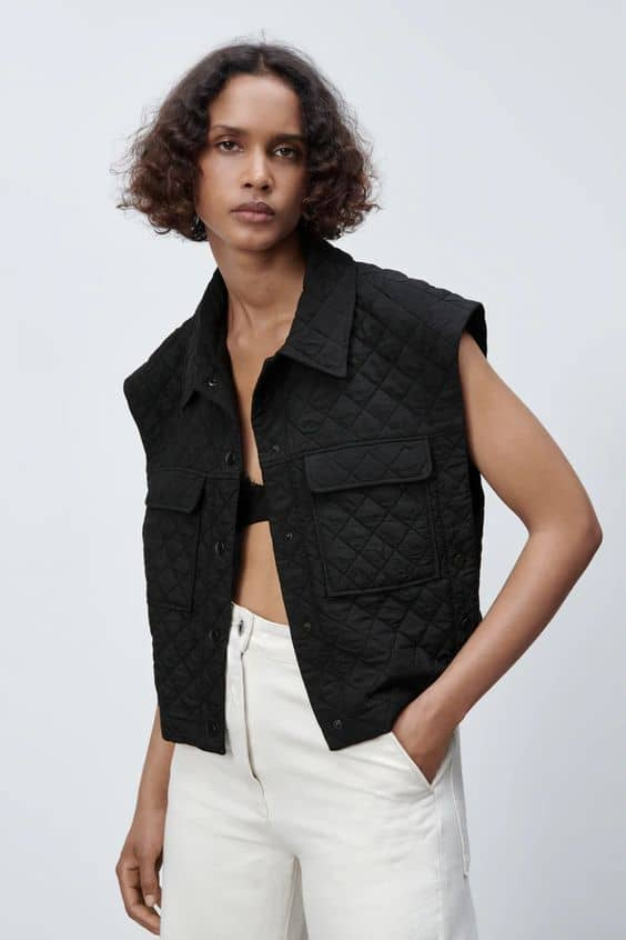 black CROPPED QUILTED WAISTCOAT zara