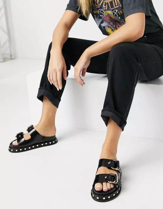 Foster Premium Leather Chunky Mules in Black ASOS