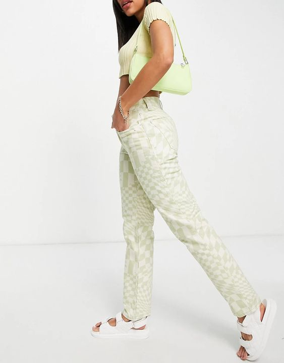 ASOS DESIGN mid rise '90's' straight leg jeans in psychedelic check print